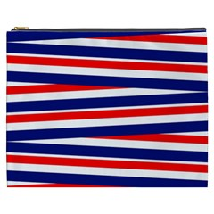Red White Blue Patriotic Ribbons Cosmetic Bag (XXXL)