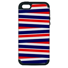Red White Blue Patriotic Ribbons Apple iPhone 5 Hardshell Case (PC+Silicone)