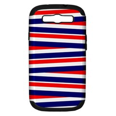 Red White Blue Patriotic Ribbons Samsung Galaxy S III Hardshell Case (PC+Silicone)