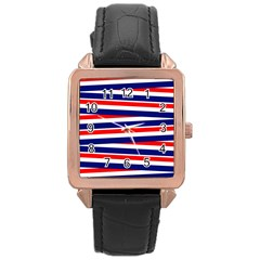 Red White Blue Patriotic Ribbons Rose Gold Leather Watch