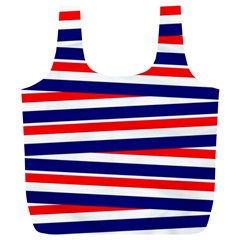 Red White Blue Patriotic Ribbons Full Print Recycle Bags (L)