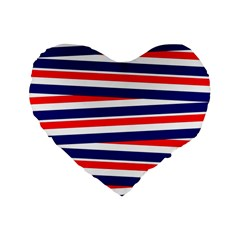 Red White Blue Patriotic Ribbons Standard 16  Premium Flano Heart Shape Cushions