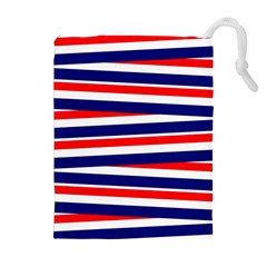 Red White Blue Patriotic Ribbons Drawstring Pouches (Extra Large)