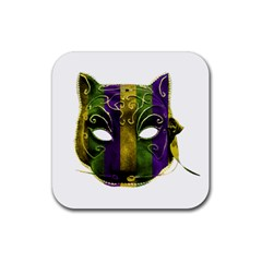 Catwoman Mardi Gras Mask Rubber Square Coaster (4 Pack)