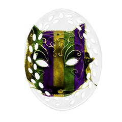 Catwoman Mardi Gras Mask Oval Filigree Ornament (two Sides)