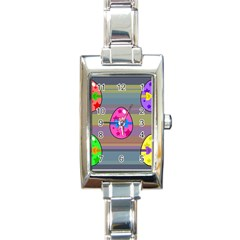 Holidays Occasions Easter Eggs Rectangle Italian Charm Watch