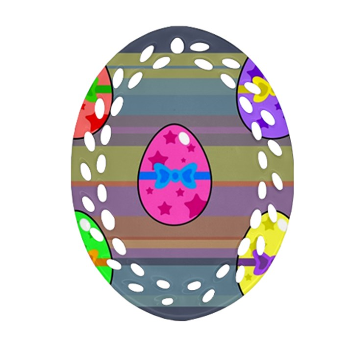 Holidays Occasions Easter Eggs Oval Filigree Ornament (Two Sides)