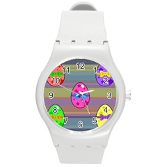Holidays Occasions Easter Eggs Round Plastic Sport Watch (M)
