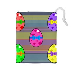 Holidays Occasions Easter Eggs Drawstring Pouches (Large)