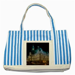 Montreal Quebec Canada Building Striped Blue Tote Bag