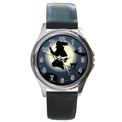 Halloween Card With Witch Vector Clipart Round Metal Watch