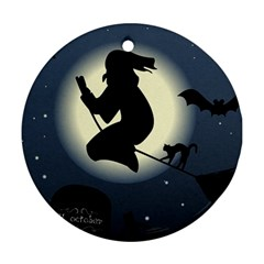 Halloween Card With Witch Vector Clipart Ornament (Round)