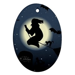 Halloween Card With Witch Vector Clipart Ornament (Oval)