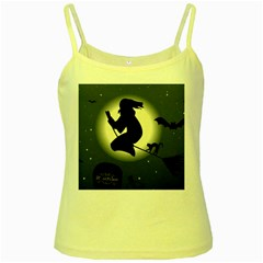 Halloween Card With Witch Vector Clipart Yellow Spaghetti Tank