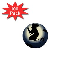 Halloween Card With Witch Vector Clipart 1  Mini Buttons (100 pack)