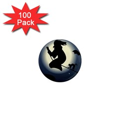 Halloween Card With Witch Vector Clipart 1  Mini Magnets (100 Pack)