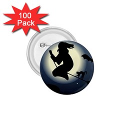 Halloween Card With Witch Vector Clipart 1.75  Buttons (100 pack)