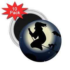 Halloween Card With Witch Vector Clipart 2.25  Magnets (10 pack)