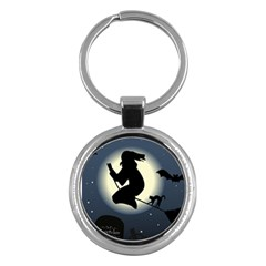 Halloween Card With Witch Vector Clipart Key Chains (round)