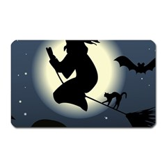 Halloween Card With Witch Vector Clipart Magnet (rectangular)