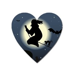 Halloween Card With Witch Vector Clipart Heart Magnet