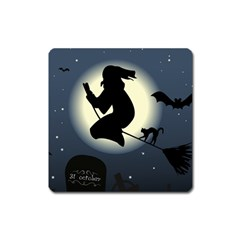 Halloween Card With Witch Vector Clipart Square Magnet