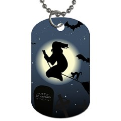 Halloween Card With Witch Vector Clipart Dog Tag (Two Sides)
