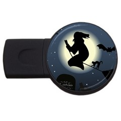 Halloween Card With Witch Vector Clipart USB Flash Drive Round (1 GB)