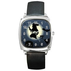 Halloween Card With Witch Vector Clipart Square Metal Watch