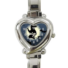 Halloween Card With Witch Vector Clipart Heart Italian Charm Watch