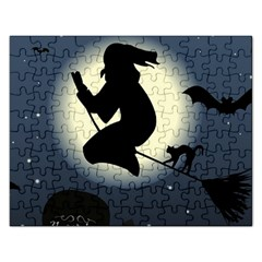 Halloween Card With Witch Vector Clipart Rectangular Jigsaw Puzzl