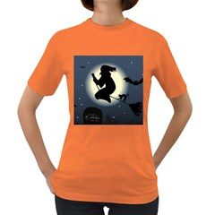 Halloween Card With Witch Vector Clipart Women s Dark T Shirt