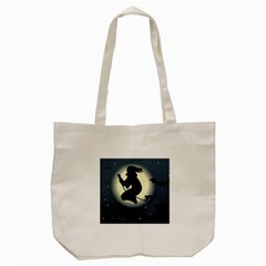 Halloween Card With Witch Vector Clipart Tote Bag (Cream)