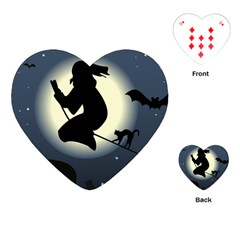 Halloween Card With Witch Vector Clipart Playing Cards (Heart)