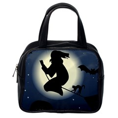 Halloween Card With Witch Vector Clipart Classic Handbags (One Side)