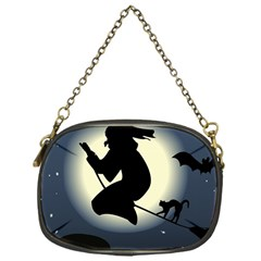 Halloween Card With Witch Vector Clipart Chain Purses (One Side)