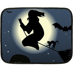 Halloween Card With Witch Vector Clipart Double Sided Fleece Blanket (Mini)