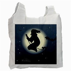 Halloween Card With Witch Vector Clipart Recycle Bag (Two Side)