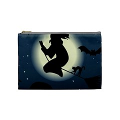 Halloween Card With Witch Vector Clipart Cosmetic Bag (Medium)