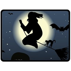 Halloween Card With Witch Vector Clipart Fleece Blanket (Large)