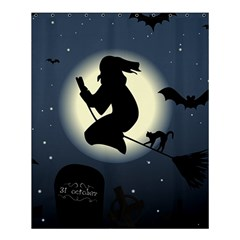 Halloween Card With Witch Vector Clipart Shower Curtain 60  x 72  (Medium)