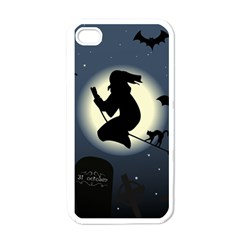 Halloween Card With Witch Vector Clipart Apple iPhone 4 Case (White)