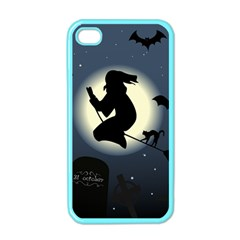 Halloween Card With Witch Vector Clipart Apple iPhone 4 Case (Color)