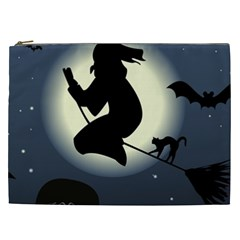 Halloween Card With Witch Vector Clipart Cosmetic Bag (xxl)