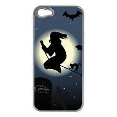 Halloween Card With Witch Vector Clipart Apple iPhone 5 Case (Silver)