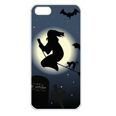Halloween Card With Witch Vector Clipart Apple iPhone 5 Seamless Case (White)
