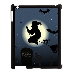 Halloween Card With Witch Vector Clipart Apple iPad 3/4 Case (Black)