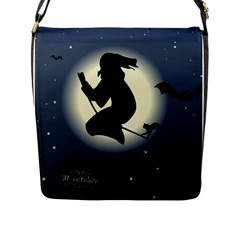 Halloween Card With Witch Vector Clipart Flap Messenger Bag (L)