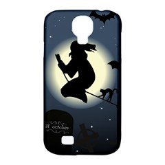 Halloween Card With Witch Vector Clipart Samsung Galaxy S4 Classic Hardshell Case (PC+Silicone)