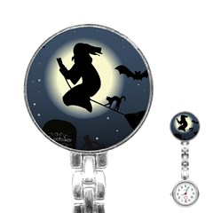 Halloween Card With Witch Vector Clipart Stainless Steel Nurses Watch